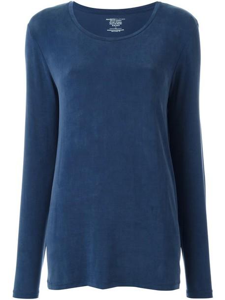 Majestic Filatures jumper women spandex blue sweater