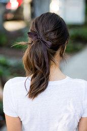 hair accessory,white top,tumblr,brunette,ponytail,hair bow,hair,long hair,top