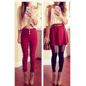 jeans jumper skirt boots tights bag cropped sweater cream wine burgundy cute top