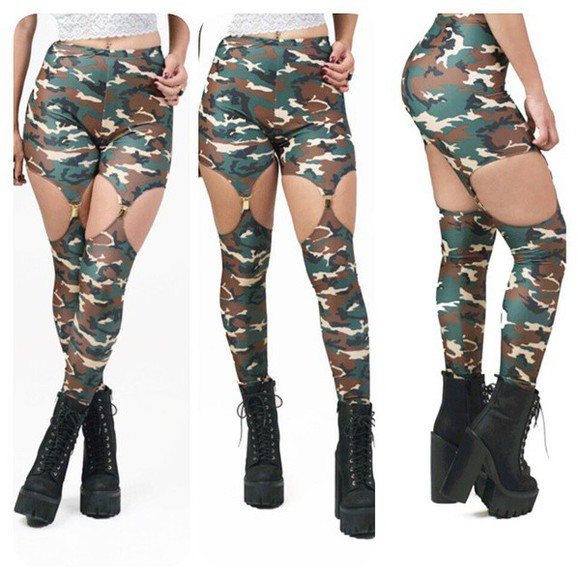 military camouflage leggings army print army print leggings undefined garter garter leggings print leggings garters leggings, kim kardashian, black, pants, bottoms garter tights camouflage-silhouette-print-leggings