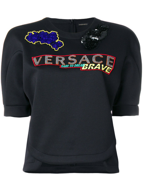 VERSACE sweatshirt short embroidered women spandex black sweater