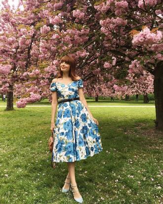 dress french girl midi dress floral floral dress off the shoulder off the shoulder dress sandals espadrilles spring outfits spring dress
