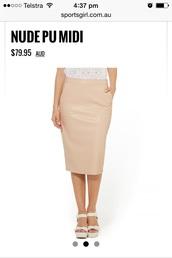 skirt,nude,pu,midi,pencil skirt