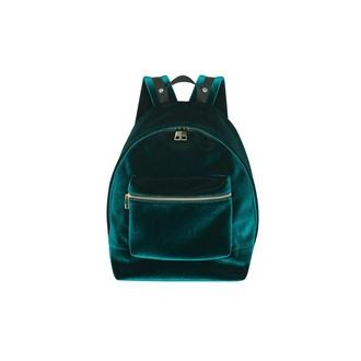 bag velvet forest green backpack hipster