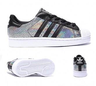 shoes adidas adidas superstars snake skin superstar holographic black white