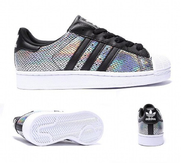 shoes adidas adidas superstars snake skin superstar holographic black white