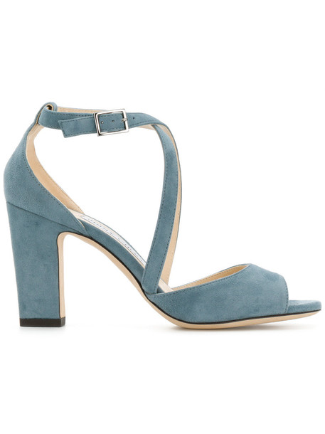 Jimmy Choo women sandals leather blue suede shoes
