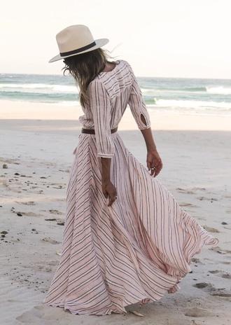 dress boho dress boho chic pink dress bohemian hippie stripes