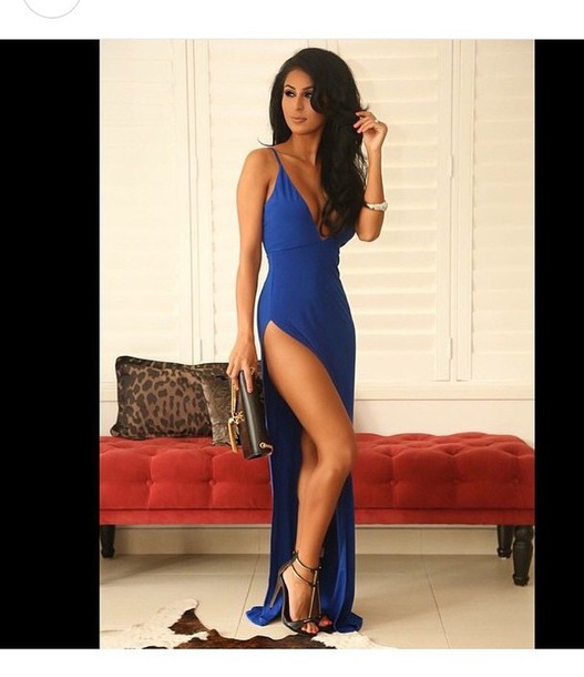 Dress: high heels, cute dress, cute high heels, blue dress, slit ...
