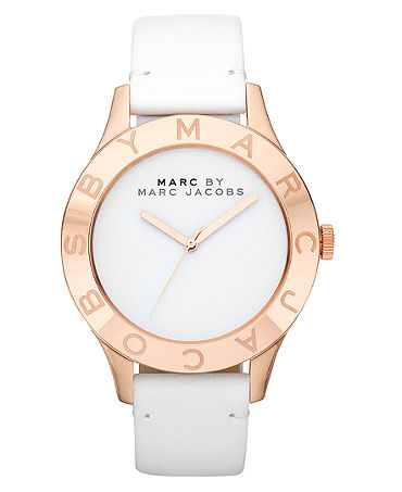 marc by marc jacobs watch women 39 s white leather strap 40mm mbm1201 all watches jewelry. Black Bedroom Furniture Sets. Home Design Ideas