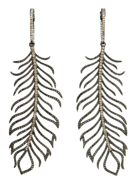 ROSA DE LA CRUZ women earrings feather earrings gold black jewels