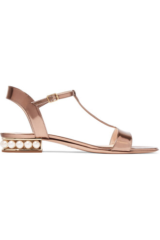 metallic embellished sandals leather sandals leather blush shoes