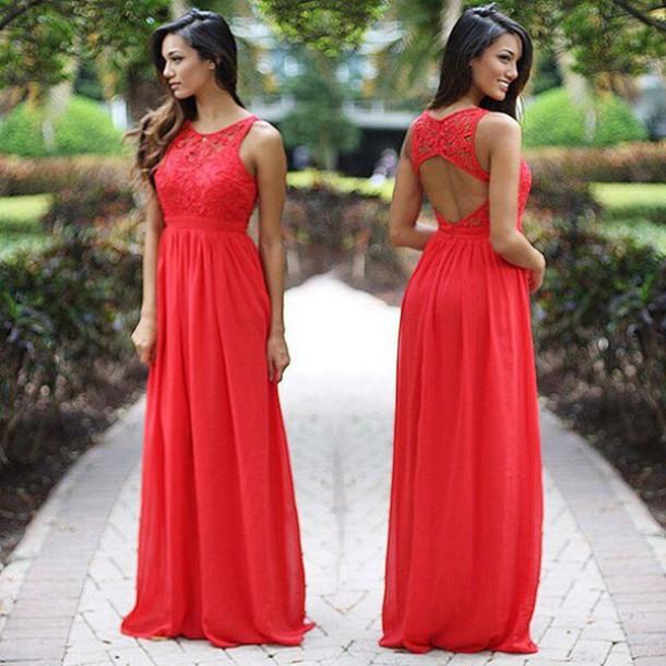 700bd3ab06 dress maxi dress red maxi dress coral maxi dress bridesmaid prom dress open  back dresses crochet