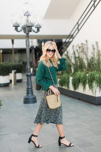 modern ensemble blogger sweater skirt bag shoes sunglasses basket bag green sweater midi skirt sandals spring outfits