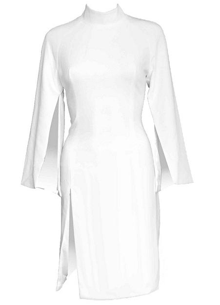 Cape Sleeve Slit Bandage Dress White