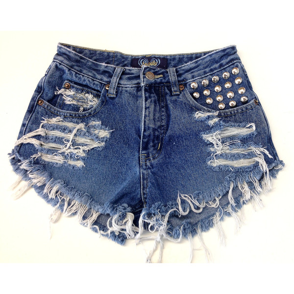 Vintage High Waisted Jean Shorts and Circle-Studded Pocket - Polyvore