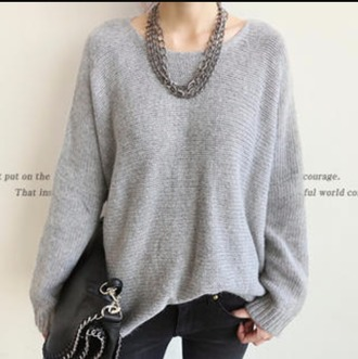 sweater wool sweater grey sweater oversized sweater
