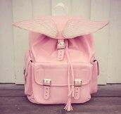 bag,pink,wings,kawaii,kawaii bag,pastel,pastel pink,buckles,angel wings,rose,cute,angel,silver,baby pink,satchel bag,backpack
