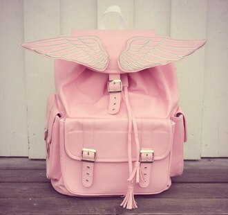 bag pink wings kawaii kawaii bag pastel pastel pink buckles angel wings rose cute angel silver baby pink satchel bag backpack