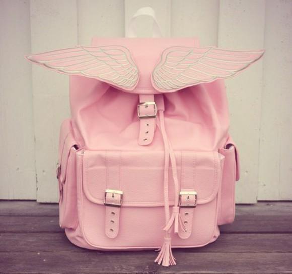bag pink wings kawaii kawaii bag angel wing pastel pastel pink buckles cute angel backpack