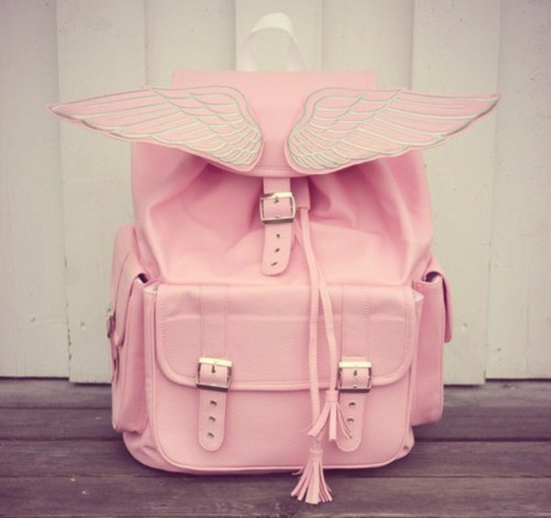 Bag: pink, wings, kawaii, kawaii bag, pastel, pastel pink, buckles ...