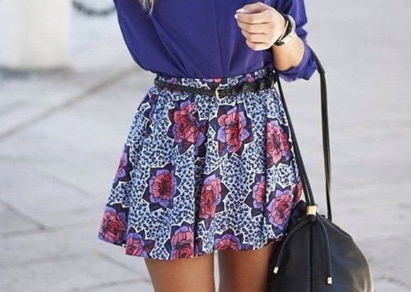 skirt floral blue pattern