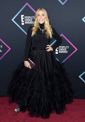 shoes,DrMartens,busy phillips,celebrity style,gown,turtleneck,tulle skirt,black,people's choice awards