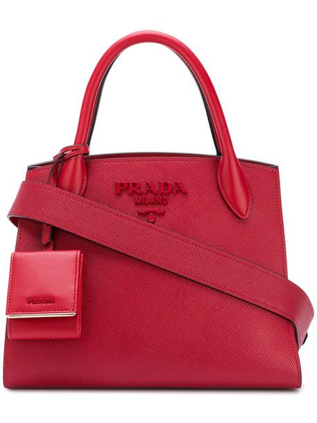 Prada women leather red bag