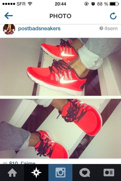 shoes nike nike free run nike free run nike sneakers sneakers red
