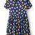 Blue Short Sleeve Daisy Print Pleated Dress - Sheinside.com