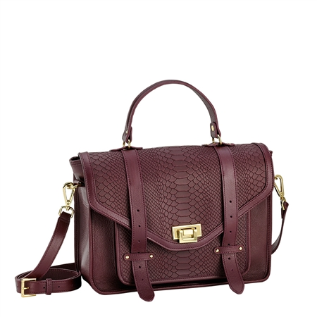 Burgundy Hayden Satchel | Embossed Python Leather | GiGi New York