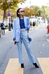 pants,blue pants,light blue,blazer,blue blazer,top,blue top,sunglasses,pantsuit,boots,black boots,two-piece