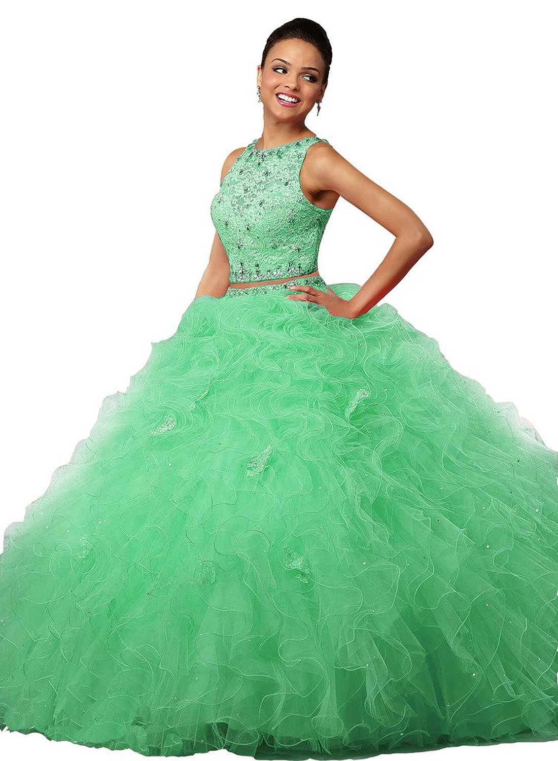 Fair Lady Women\'s Ruched Ball Gowns Organza 2 Piece Quinceanera ...