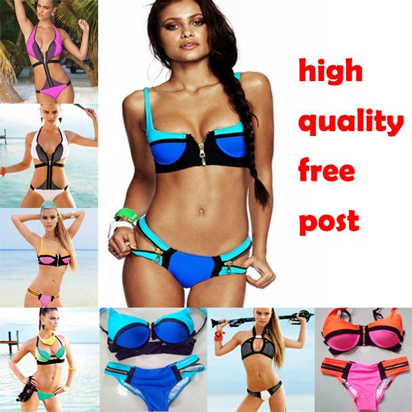 5 styles brazilian night neon colorblock zippers sporty bikini monokini swimwear