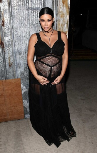 dress sheer see through dress black dress maxi dress kim kardashian fashion week