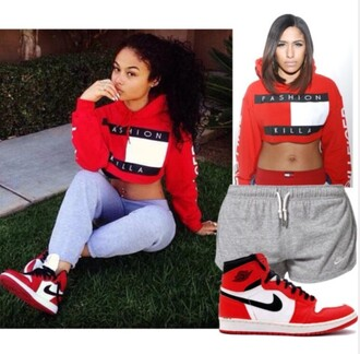 shirt tommy hilfiger tommy hilfiger crop top red blue white crop tops cropped hoodie belly t-shirt belly top belly shirt swag hot