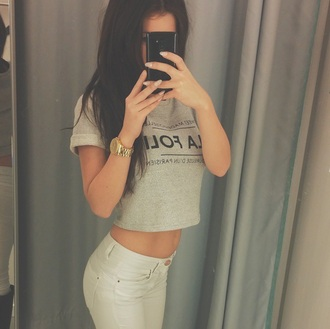 t-shirt top grey shorttop short top crop tops