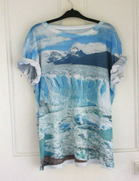 white large shirt sea bue mountain ice snow ocean tumblr t-shirt blue oceanshirt #landscape #landscapeprint #oceanprint #mountain #mountains #sky #lightblue #blue hipster waves ocean blue dope urban fashion print winter photography mountains water printed t-shirt tee