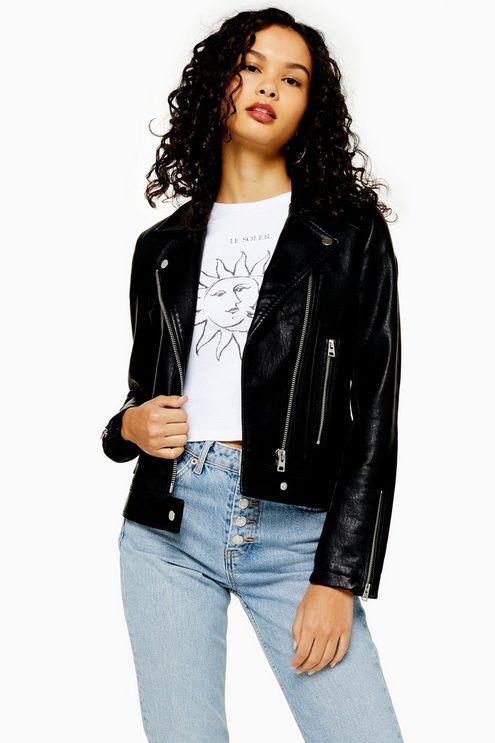 Black Faux Leather Biker Jacket - Black