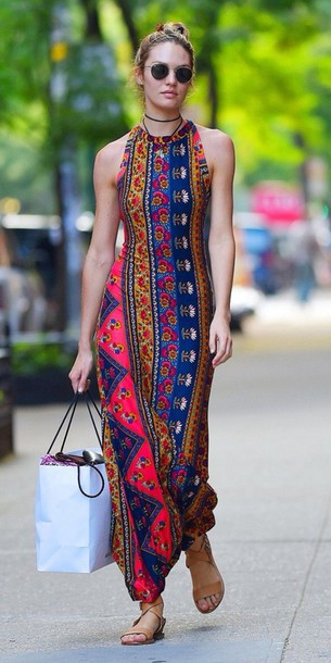 hippie victoria's secret model long dress boho patterned dress sandals dress maxi dress halter neck print dress boho dress sleeveless