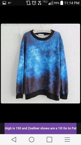 sweater galaxy print galaxy sweater blue galaxy space