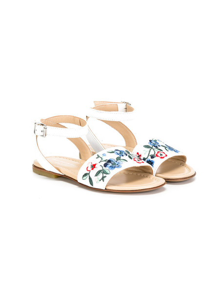 Ermanno Scervino Junior embroidered sandals leather white cotton shoes