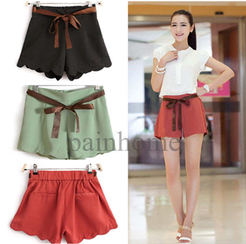 2014 new fashion women high waist wave hem stretch summer shorts hot short pants