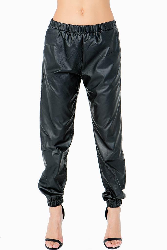 A'GACI Vegan Leather Slouchy Pants - BOTTOMS