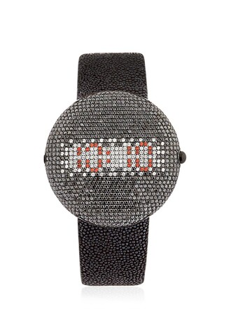 diamonds watch white black jewels