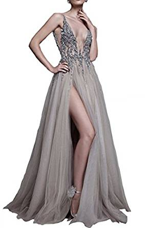 Changjie Damen Sexy Abendkleider Braujungfernkleider Kristall Perlen ...