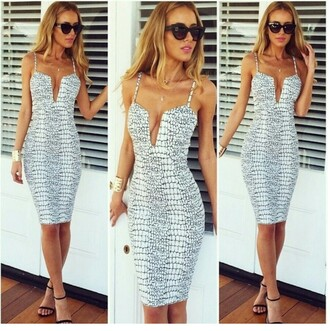 black and white dress midi dress bodycon dress snake print plunge v neck