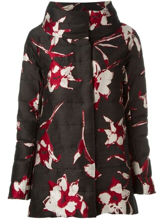parka women floral black wool pattern coat