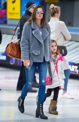 shoes boots fur coat alessandra ambrosio ripped jeans jeans grey jacket fall jacket winter jacket model off-duty jacket