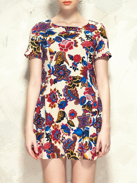 Retro Floral Dress With Zip Back | Choies